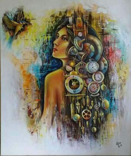 Sonia Kumar | Acrylic Painting title Waiting on Canvas | Artist Sonia Kumar Gallery | ArtZolo.com