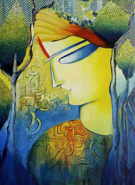 Figurative Acrylic Art Painting title 'Expression of Love' by artist NITU CHHAJER