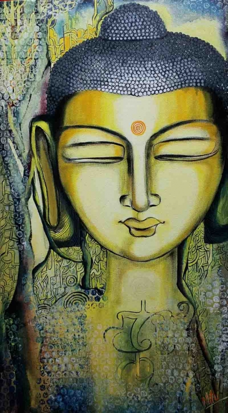 Buddha - Expression of Peace  | Painting by artist NITU CHHAJER | acrylic | Canvas