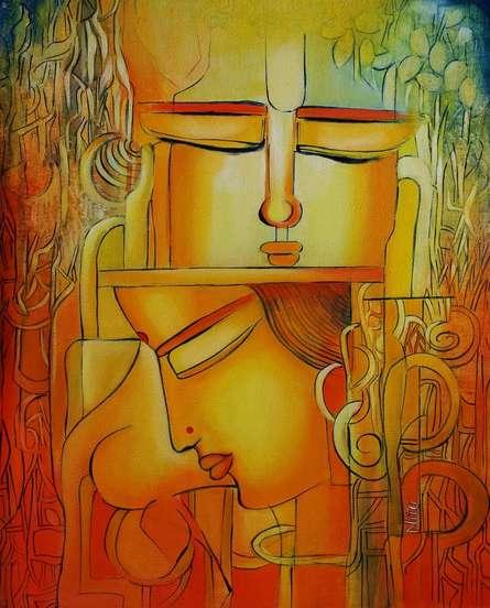 Radha remembering Krishna I | Painting by artist NITU CHHAJER | acrylic | Canvas