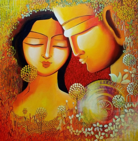 contemporary Acrylic Art Painting title 'Unspoken love' by artist NITU CHHAJER