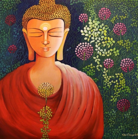 Religious Acrylic Art Painting title Awakening by artist NITU CHHAJER