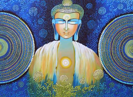 Religious Acrylic Art Painting title 'Be A Buddha' by artist NITU CHHAJER