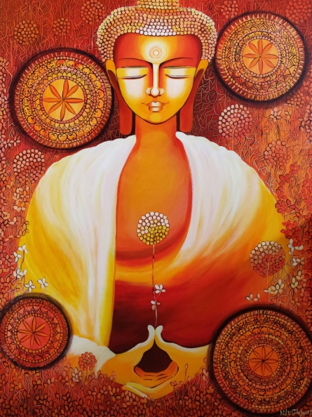 NITU CHHAJER Paintings | Acrylic Painting - Buddha - A Journey Towards Enlightenment by artist NITU CHHAJER | ArtZolo.com