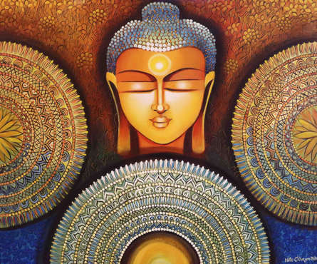 Religious Acrylic Art Painting title 'Buddha - Peace Begins With Acceptance' by artist NITU CHHAJER