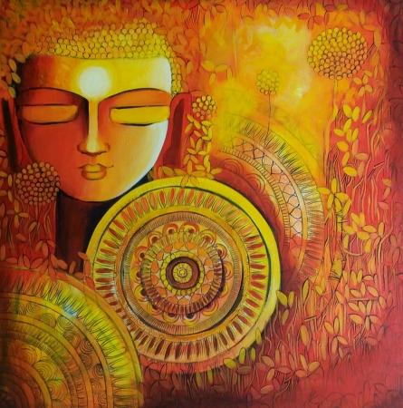 NITU CHHAJER Paintings | Acrylic Painting - Emerging Budhha 1 by artist NITU CHHAJER | ArtZolo.com