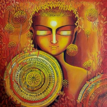 Religious Acrylic Art Painting title Emerging Budhha 2 by artist NITU CHHAJER