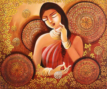 Figurative Acrylic Art Painting title 'Dreamgirl' by artist NITU CHHAJER