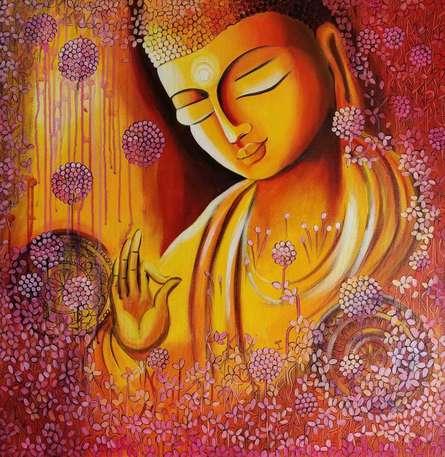 Religious Acrylic Art Painting title 'Emerging Budhha 4' by artist NITU CHHAJER