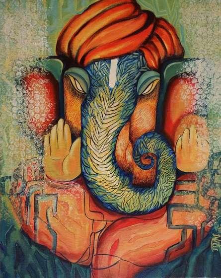 Religious Acrylic Art Painting title 'Ganesha' by artist NITU CHHAJER