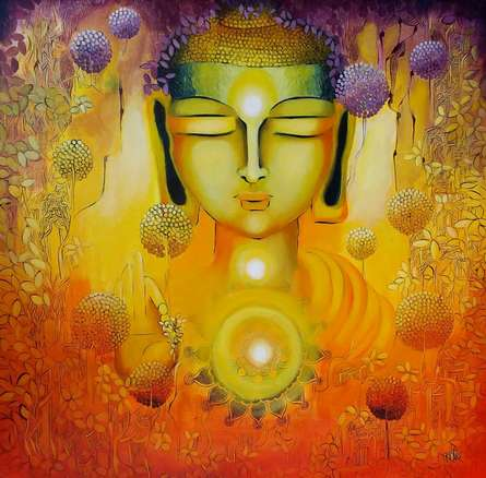 Realistic Acrylic Art Painting title 'Glimpse Of Buddhas Enlightenment' by artist NITU CHHAJER
