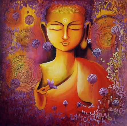 contemporary Acrylic Art Painting title Glimpse Of Buddhas Enlightenment by artist NITU CHHAJER