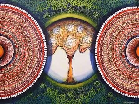 Nature Acrylic Art Painting title Mandala- Expansion Beyond Dimension 3 by artist NITU CHHAJER