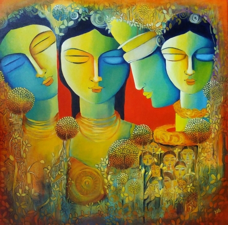 contemporary Acrylic Art Painting title 'Only Love Is Real 3' by artist NITU CHHAJER