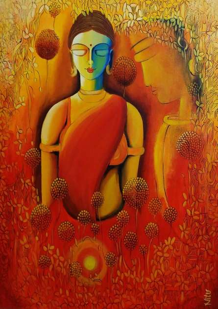 Only Love Is Real 4 | Painting by artist NITU CHHAJER | acrylic | Canvas
