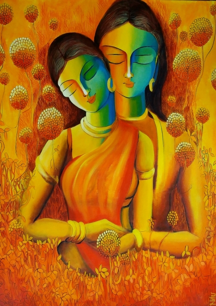 Figurative Acrylic Art Painting title 'Only Love Is Real 5' by artist NITU CHHAJER