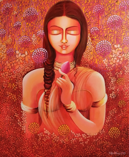 NITU CHHAJER | Acrylic Painting title Selflove- Loving My Own Identity on Canvas | Artist NITU CHHAJER Gallery | ArtZolo.com