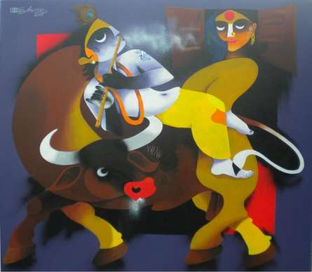 Flute | Painting by artist Uttam Manna | acrylic | Canvas