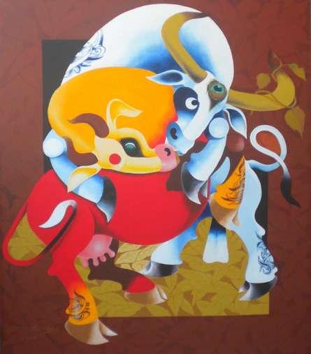 Love | Painting by artist Uttam Manna | acrylic | Canvas