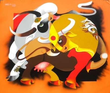 Figurative Acrylic Art Painting title Romance by artist Uttam Manna