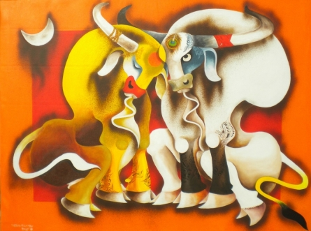 Animals Acrylic Art Painting title Happiness by artist Uttam Manna