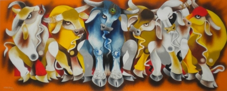 Meeting | Painting by artist Uttam Manna | acrylic | Canvas