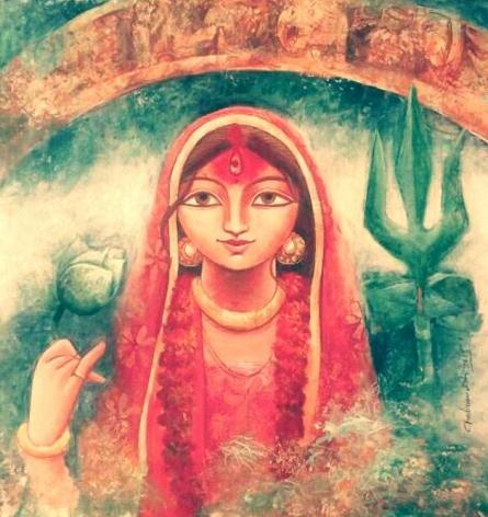 Figurative Acrylic Art Painting title Devi II by artist Indrani Acharya