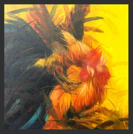 Expressionist Oil Art Painting title Cock fight by artist NAGENDRAN DURAISAMI