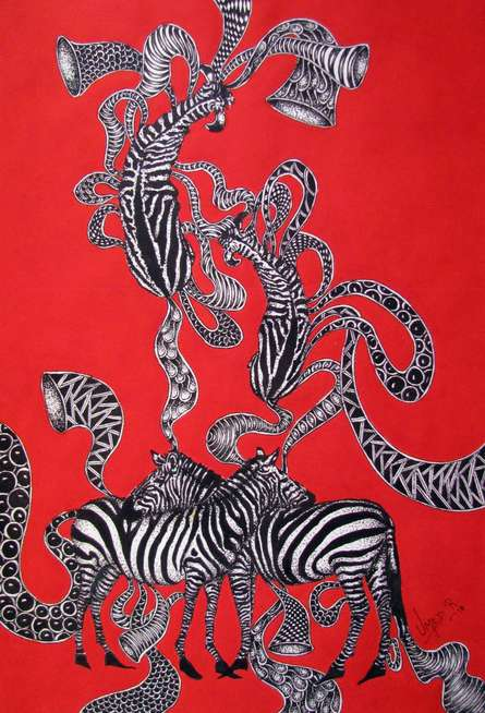 acrylic on paper, surrealism art, abstract painting, red painting, animal painting, figurative, pen and ink, drawing, nature, under 20,000 painting, afford