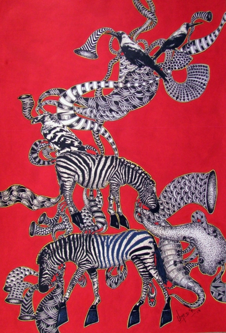 Surrealist Acrylic Art Painting title 'Untitled 9' by artist Umed Rawat