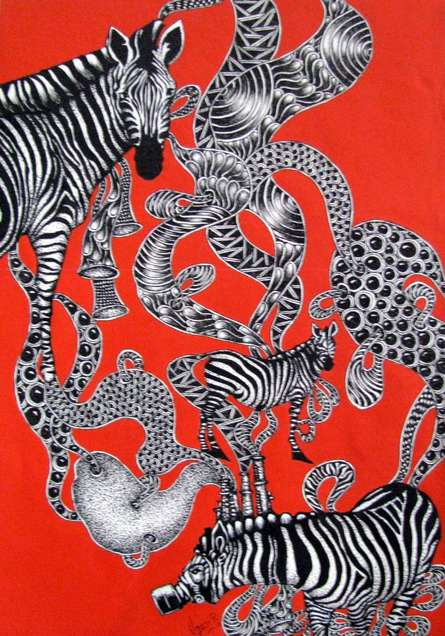 Animals Acrylic Art Painting title 'Time Travel 2' by artist Umed Rawat