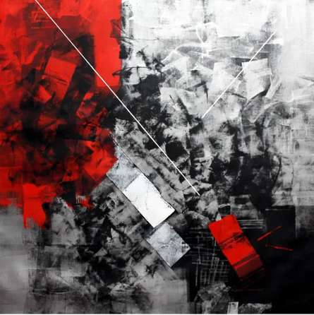 Red Abstract I | Painting by artist Sudhir Talmale | oil | Canvas
