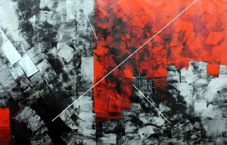 Abstract Oil Art Painting title 'Red Abstract II' by artist Sudhir Talmale