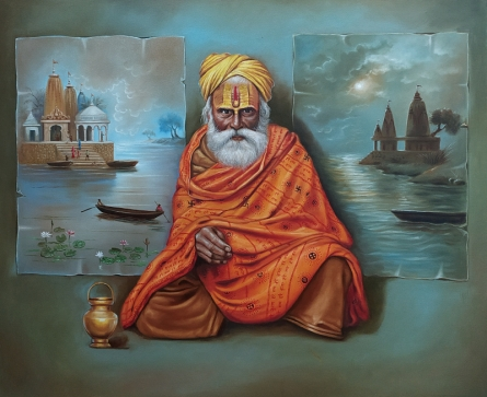 Religious Oil Art Painting title Indian Sadhu by artist Gopal Sharma