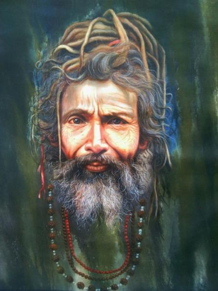 Religious Acrylic Art Painting title Sadhu by artist Gopal Sharma