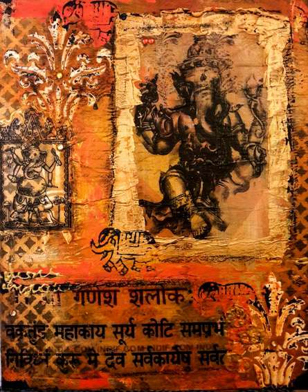 Mixed Media Painting titled 'Ganesha' by artist Sheetal Singh on Canvas Board