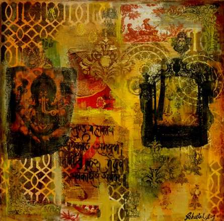 Mixed Media Painting titled 'Gate To Ganesha' by artist Sheetal Singh on Canvas
