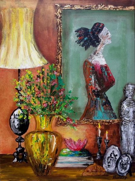 Still-life Acrylic Art Painting title 'Mantel' by artist Sheetal Singh