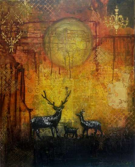 Animals Acrylic Art Painting title 'My Deer' by artist Sheetal Singh