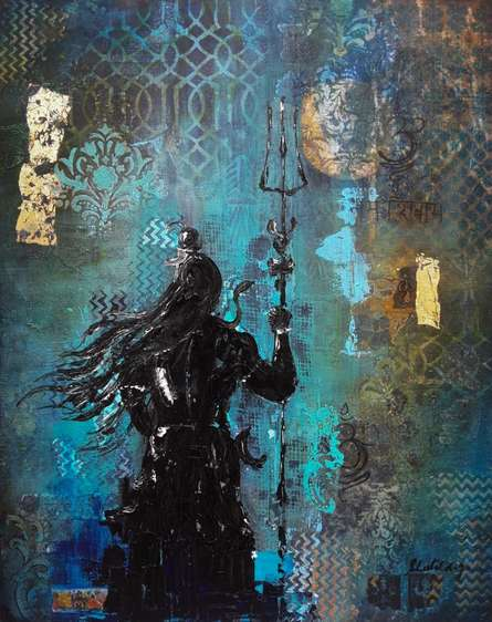 Religious Mixed-media Art Painting title 'Shiv' by artist Sheetal Singh