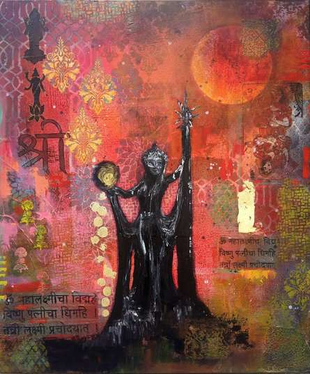 Religious Acrylic Art Painting title 'Queen Of Wealth' by artist Sheetal Singh