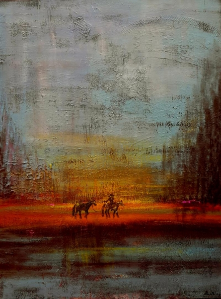 Landscape Acrylic Art Painting title Returning Horses by artist Sheetal Singh