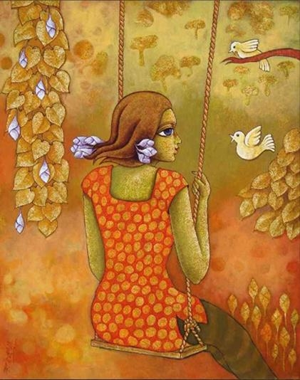 Figurative Acrylic Art Painting title Swinging Teens Acrylic by artist Ramchandra B Pokale