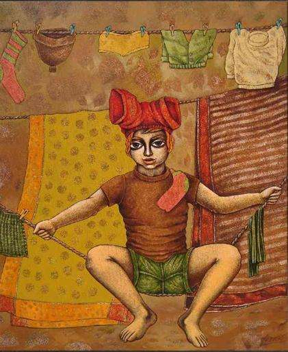 Figurative Acrylic Art Painting title 'See Saw On A Rope' by artist Ramchandra B Pokale