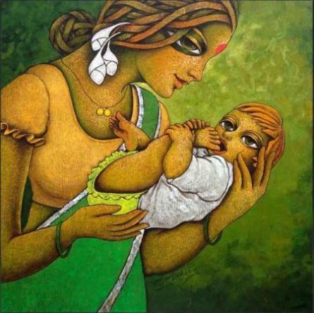Nature Swing | Painting by artist Ramchandra B Pokale | acrylic | Canvas