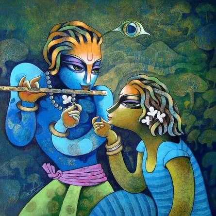 Religious Acrylic Art Painting title 'Bansidhar 42' by artist Ramchandra B Pokale