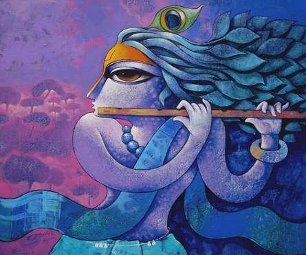 Religious Acrylic Art Painting title Bansidhar 44 by artist Ramchandra B Pokale