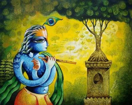 Ramchandra B Pokale Paintings | Religious Painting - Bansidhar 46 by artist Ramchandra B Pokale | ArtZolo.com