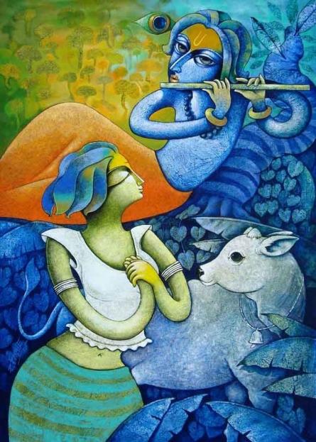 Religious Acrylic Art Painting title Bansidhar 35 by artist Ramchandra B Pokale