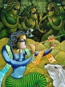 Figurative Acrylic Art Painting title Bansidhar III by artist Ramchandra B Pokale